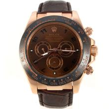Replik Rolex Daytona Automatic Rotgold Ceramic Lünette mit Brown Dial-Leather Strap - Attraktive Rolex Daytona Uhr für Sie 23096
