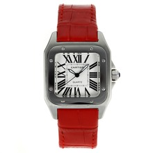 Replik Cartier Santos 100 mit White Dial-Red Leather Strap - Attraktive Cartier Santos für Sie 28889 Schauen