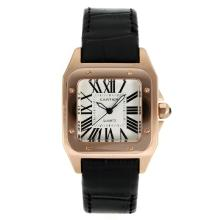 Replik Cartier Santos 100 Rose Glod Case mit White Dial-Black Leather Strap - Attraktive Cartier Santos für Sie 28887 Schauen