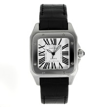 Replik Cartier Santos 100 mit White Dial-Black Leather Strap - Attraktive Cartier Santos für Sie 28886 Schauen