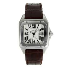 Replik Cartier Santos 100 mit White Dial-Brown Leather Strap - Attraktive Cartier Santos für Sie 28884 Schauen
