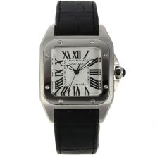 Replik Cartier Santos 100 mit White Dial-Black Leather Strap - Attraktive Cartier Santos für Sie 28662 Schauen