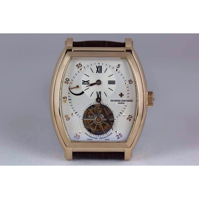 Replica Vacheron Constantin Malte Tourbillon Regulator 24K Vergoldetes Weißes Schweizer Tourbillon 80241